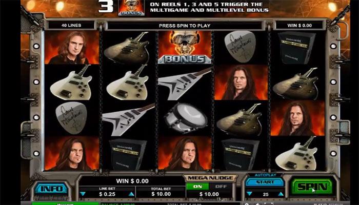 Spelautomater med musiktema Megadeth